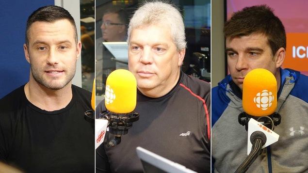 Paxton Brière, Jacques Lessard et Pascal Lampron devant un micro