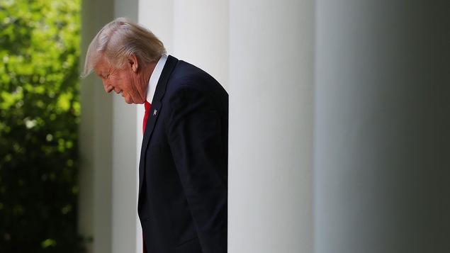 Donald Trump, vue de côté à la Maison-Blanche le 26 juillet 2017.