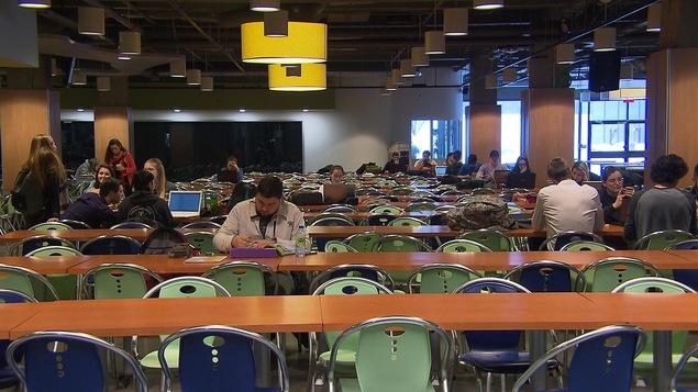 Des étudiants assis à des tables travaillent.