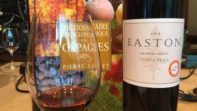 Une bouteille de vin, une coupe de vin rouge et un livre sur une table dans une studio de radio