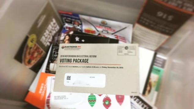Une trousse de vote postale parmi de la publicité au recyclage