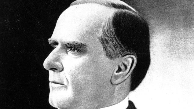 William McKinley, le 25e président des États-Unis. Entré d'abord en fonction en 1897 et de nouveau en 1897, il se fait assassiner le 6 septembre 1901.