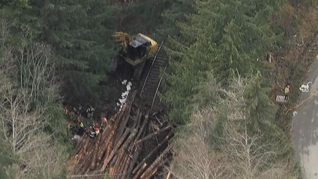 Le déraillement de train à Woss, sur l'île de Vancouver.