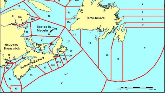 Les zones de pêche au homard en Atlantique