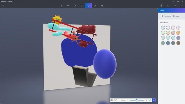 Capture d'écran du logiciel Paint 3D de la mise à jour Windows 10 Creators.