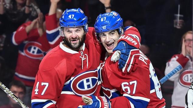 Alexander Radulov et Max Pacioretty célèbrent un but du Canadien.