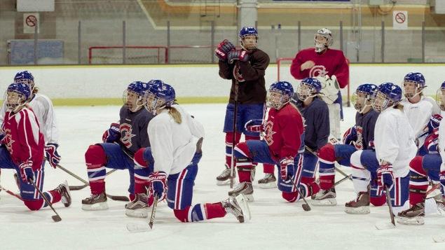 Les Canadiennes lors d'une pratique