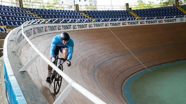 Hugo Barrette au vélodrome de Cali à la sortie de la courbe où il a subi son accident en 2015