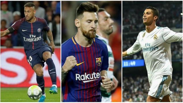 Neymar, Lionel Messi et Cristiano Ronaldo