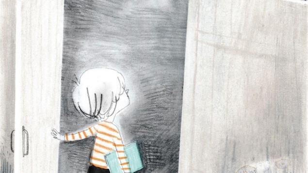 Le dessin d'un enfant qui ouvre une porte.