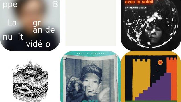Cinq pochettes d'albums : Philippe B, Catherine Leduc, Eman, Mon doux Seigneur et Corridor
