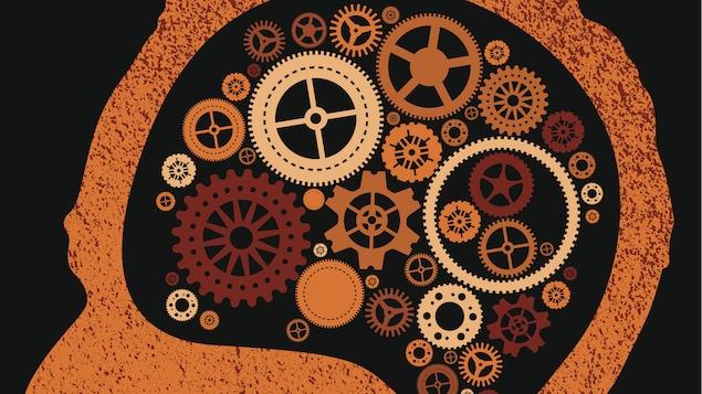 Une illustration représentant une tête avec des rouages dans le cerveau