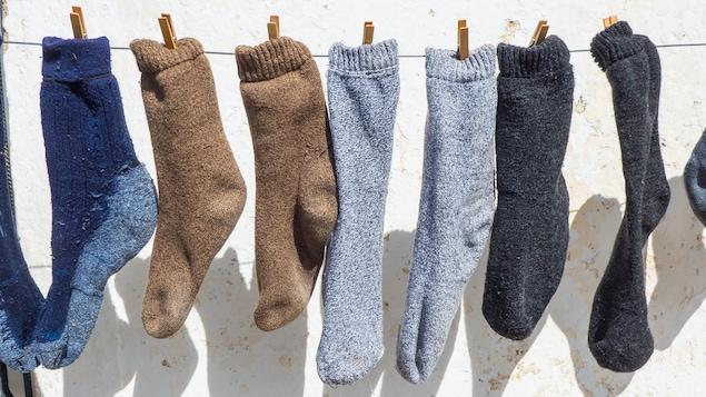 Vue rapprochée de plusieurs chaussettes colorées au soleil.