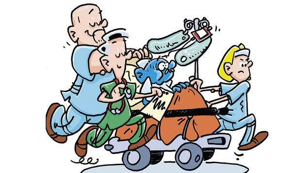 Une illustration de bande dessinée montrant trois professionnels de la santé en train de déplacer un malade qui a le visage bleu sur une civière.