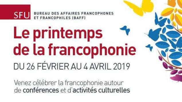 L'affiche du printemps de la francophonie à SFU.