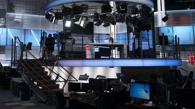 Le plateau télévision du centre de l'information.
