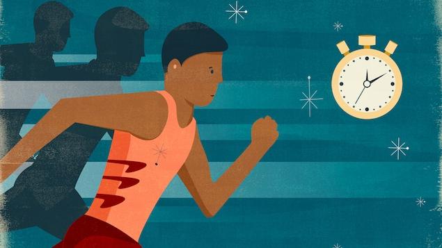 L'illustration présente un coureur en pleine course. Dans le coin droit se trouve un chronomètre.