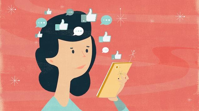 L'illustration représente une femme qui semble confuse. Elle regarde l'écran de son téléphone, duquel s'échappent des bulles de conversation et des pouces levés en l'air.
