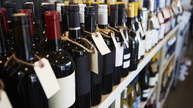 Des bouteilles de vin alignées sur une étagère