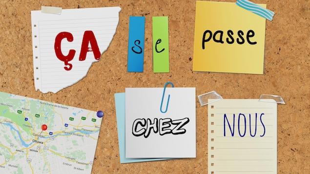 Des mots sur des papiers affichés sur un babillard.