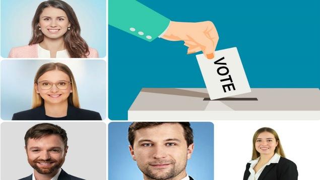 Alessandra Lubrina (PLQ), Arianne Lebel (CAQ). Olivier Gignac(PQ), Gabriel Nadeau Dubois (QS), Alice Sécheresse (P.Vert) et un dessin d'une main qui dépose un bulletin de vote dans une urne.
