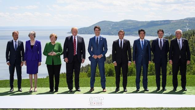 De gauche à droite : le président du Conseil européen Donald Tusk, la première ministre britannique Theresa May, la chancelière allemande Angela Merkel, le président américain Donald Trump, le premier ministre canadien Justin Trudeau, le président français Emmanuel Macron, le premier ministre japonais Shinzo Abe, le premier ministre italien Giuseppe Conte et le président de la Commission européenne Jean-Claude Juncker