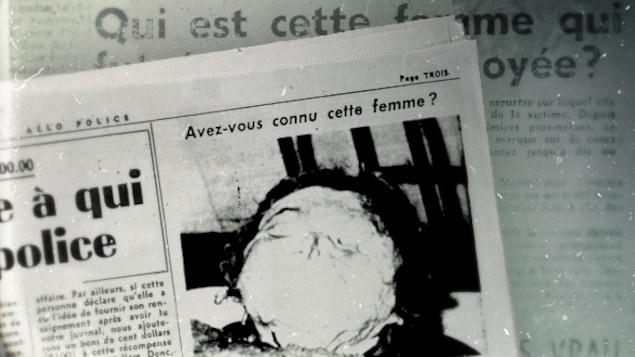 La photo de la noyée de rivière des Prairies publiée dans Allô Police, en page 3 de l'édition du 25 octobre 1953. Dans la légende, Allô Police offrait une récompense de 200 $ à qui identifierait la noyée ou donnerait « des renseignements menant à l'arrestation du meurtrier ».