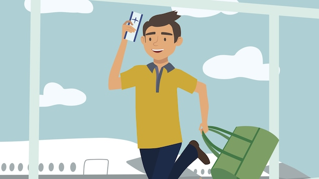 Un dessin montre un homme avec un billet d'avion dans les mains.