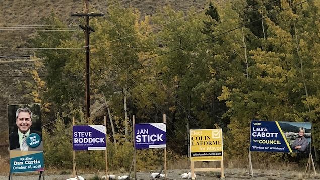 Des panneaux électoraux sont plantés au bord de la route.