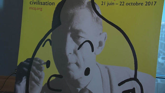 Affiche de l'exposition sur Hergé au Musée de la civilisation