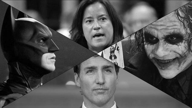 Des photos de Batman et du Joker sont juxtaposées avec celles de Justin Trudeau et Jody Wilson-Raybould.