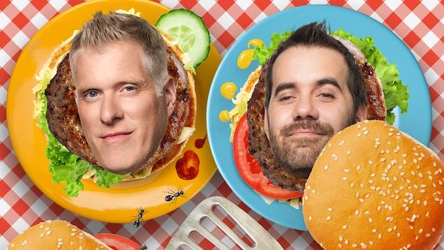 Les visages des animateurs Fred Savard et Jean-Sébastien Girard sont montrés dans des hamburgers.