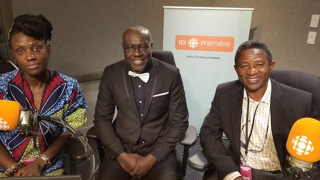 Sandra Sassa, Hubert Shimba et Pierre Kasonga aux studios d'ICI Ontario.