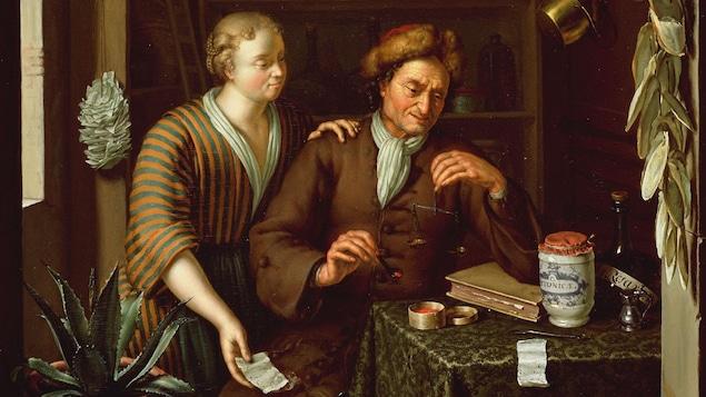 Dans une peinture, une femme met sa main sur l'épaule d'un apothicaire au travail.