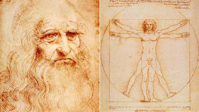 Autoportrait de Léonard de Vinci et un détail d'un dessin réalisé vers 1490