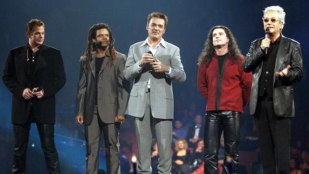 Garou, Luck Mervil, Daniel Lavoie et Bruno Pelletier et Luc Plamondon, le 31 décembre 1999