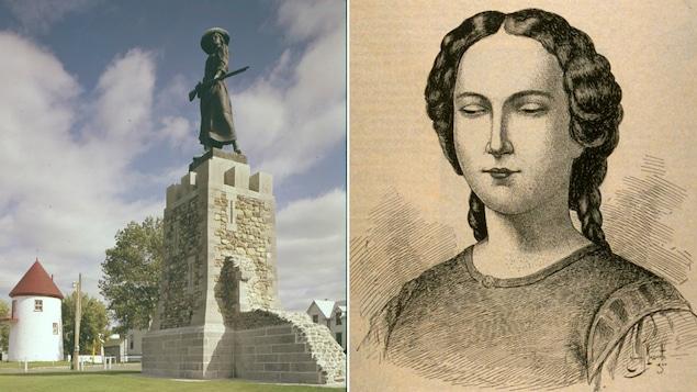 Une statue représentant Madeleine de Verchères et le détail d'un dessin réalisé par Edmond-Joseph Massicotte