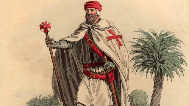 Illustration d'un soldat portant l'uniforme de l'Ordre du Temple, en 1309.
