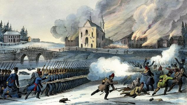 L'armée britannique affronte les patriotes à Saint-Eustache, en 1837.