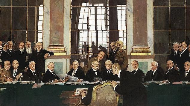 Peinture illustrant la signature du traité de Versaille