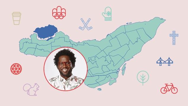 L'animateur Meeker Guerrier et l'arrondissement de L'Île-Bizard—Sainte-Geneviève sur la carte de Montréal