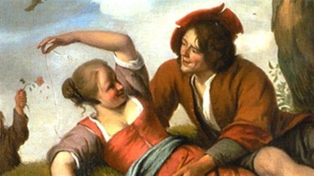 Un homme agrippe une femme sur un peinture à l'époque de la Nouvelle-France.