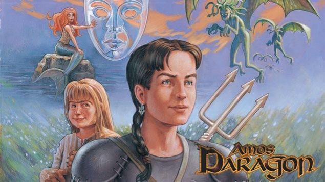 La couverture du premier tome des aventures d'Amos Daragon. On y voit 3 personnages et 2 dragons.