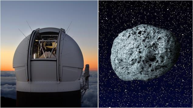 Le télescope Pan-STARRS1 ainsi qu'une représentation d'astéroïde.