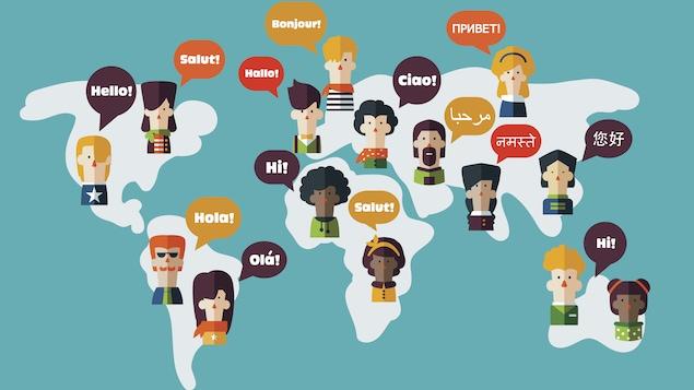 Des humains sont disposés sur une carte du monde et parlent des langues différentes.