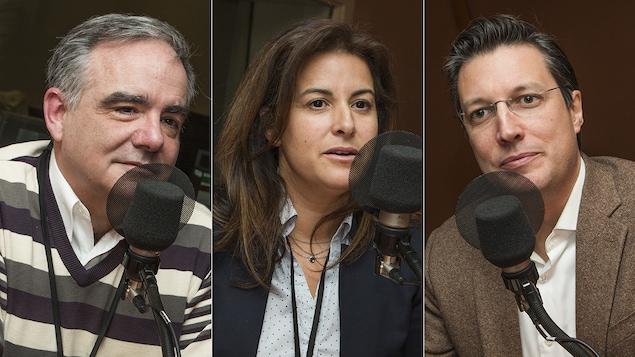 Maxime Allard, Sonia Baudelot et Guillaume Lavoie au micro de Catherine Perrin