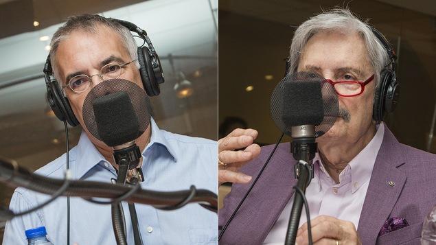 André Lacroix et Marc Laurendeau au micro de Catherine Perrin