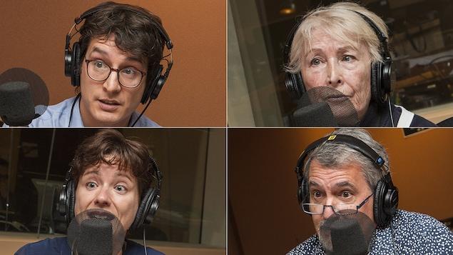 Antoine Boivin, Ghislaine Rouly, Mireille Fortier et Luc Armand au micro d'Isabelle Craig