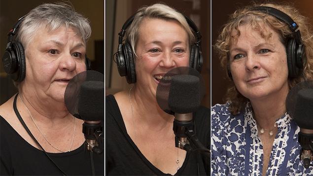 Danielle Fichaud, Félixe Ross et Louise Laparé au studio 18 de Radio-Canada, le 9 octobre 2017