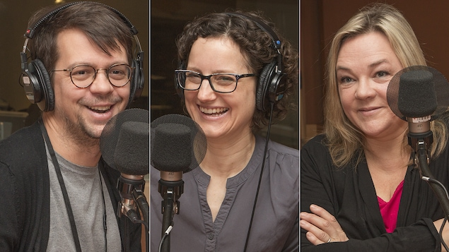 Guillaume Corbeil, Geneviève Labelle et Marcia Pilote au micro de Catherine Perrin